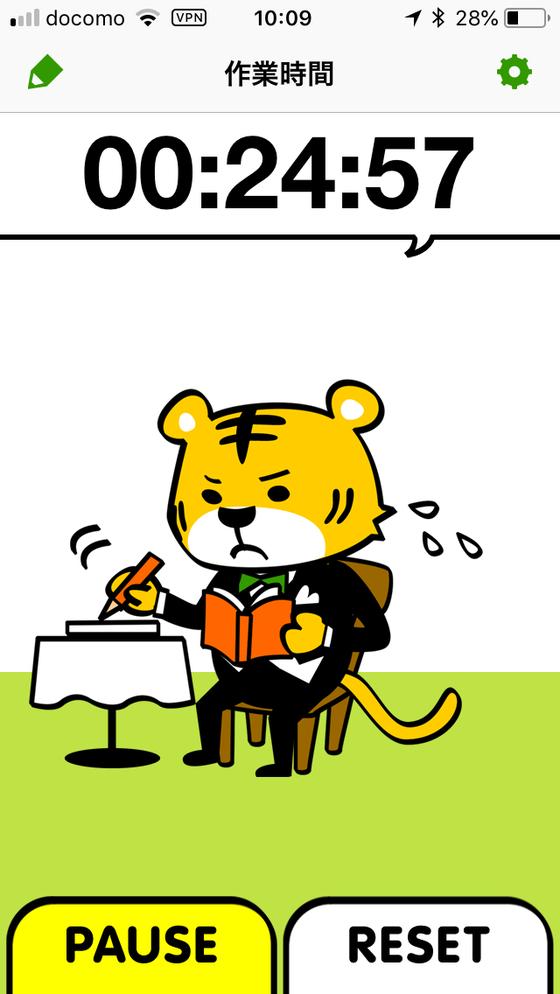 作業中の休みタイガー