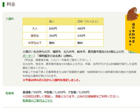 福岡市動物園-料金